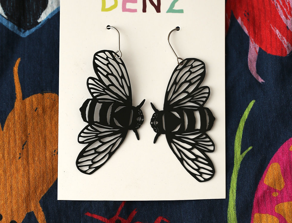 Bee in Black Earrings