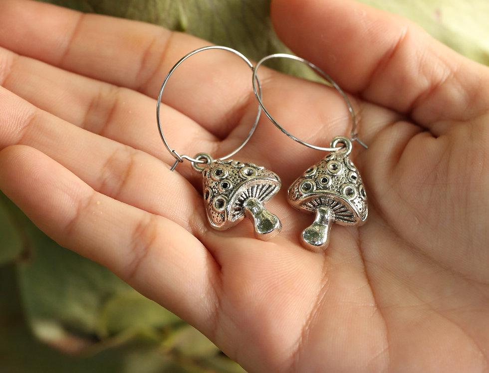Mushrooms on hoop earrings