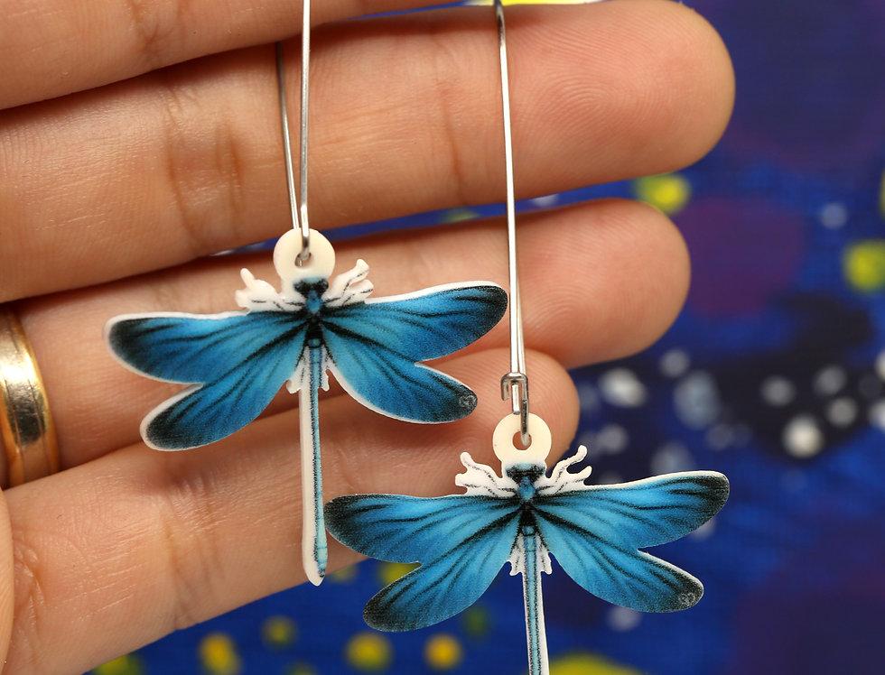 Blue Damselfly Acrylic Earrings