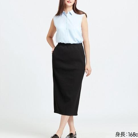 UQ リブタイトロングスカート(丈標準76~80cm)ブラック.jpg