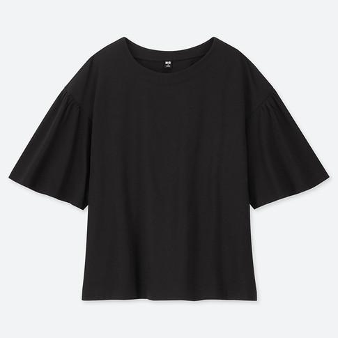 UQ マーセライズコットンギャザースリーブT(5分袖).jpg