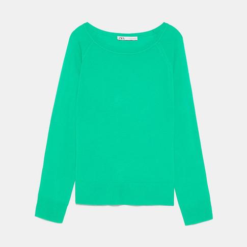 ZARA ベーシックセーター ミディアムグリーン.jpg