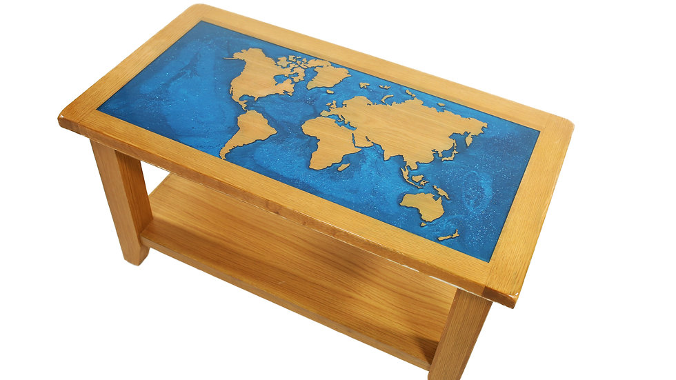 Blue Resin, World Map, River Table