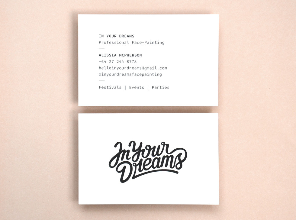 In Your Dreams Typography and business cards