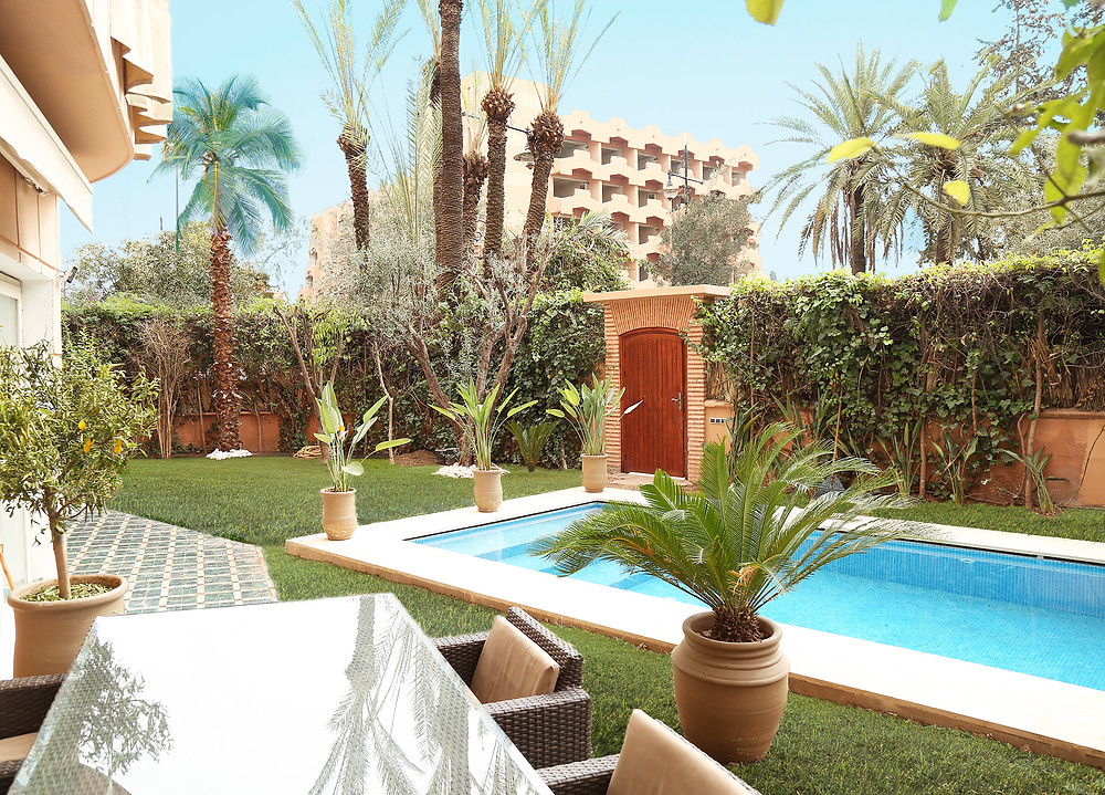 Exterior shot of luxury Marrakech apartment