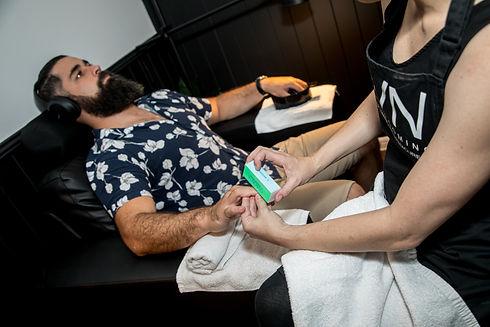 Man having a manicure