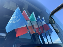 Flags on a coach