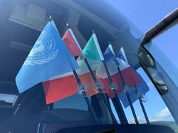 Flags on a coach