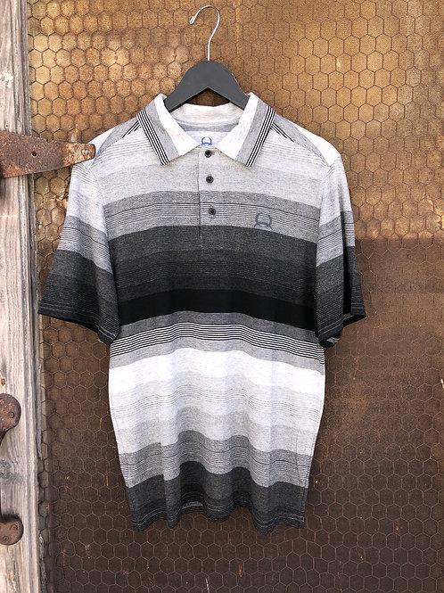 Black & Gray Striped ArenaFlex Cinch Polo