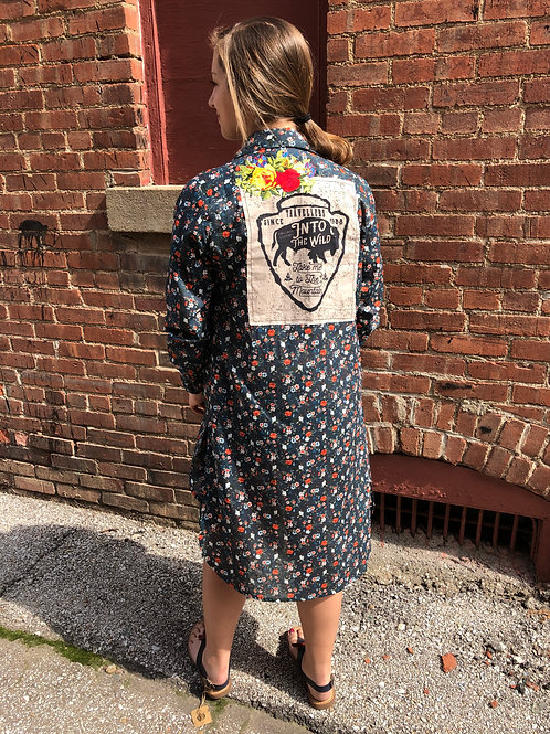 Floral Duster/Dress with Buffalo Arrowhead Patch