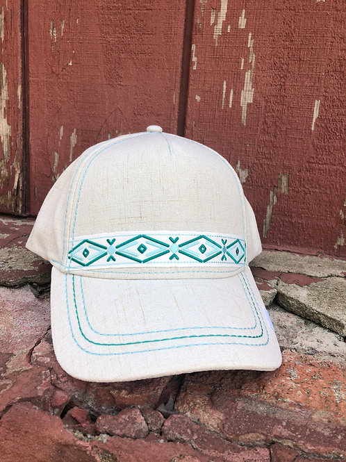 Teal & Light Tan Canvas Cap