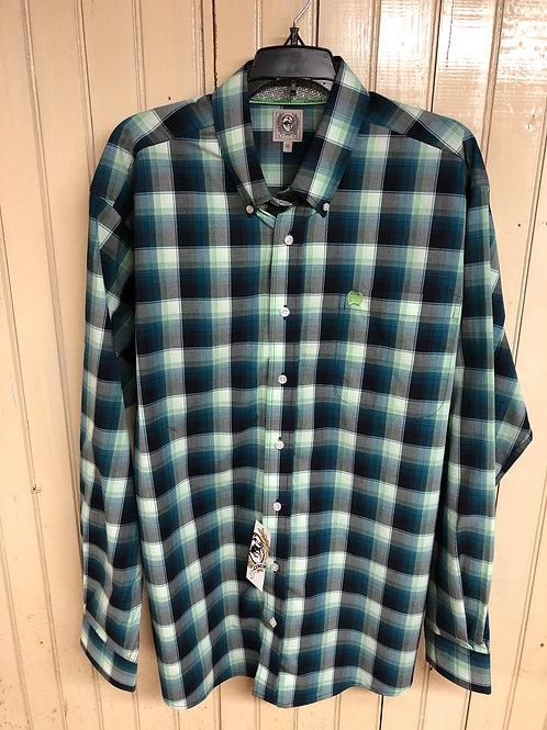 Greenish Plaid Cinch Long Sleeve Shirt