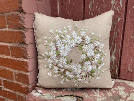 White Ribbon Wreath Pillow