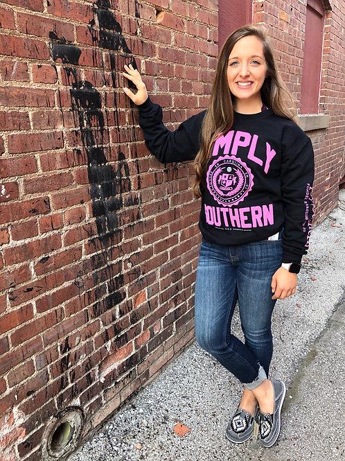 Black & Pink Crew Neck Sweatshirt