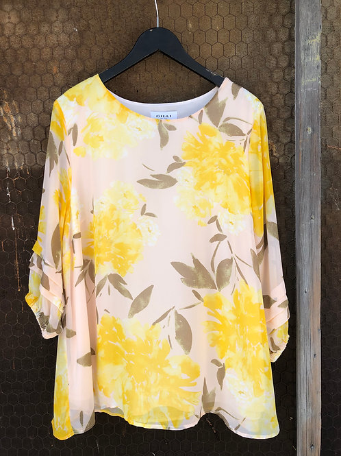 Blush & Yellow Floral Top