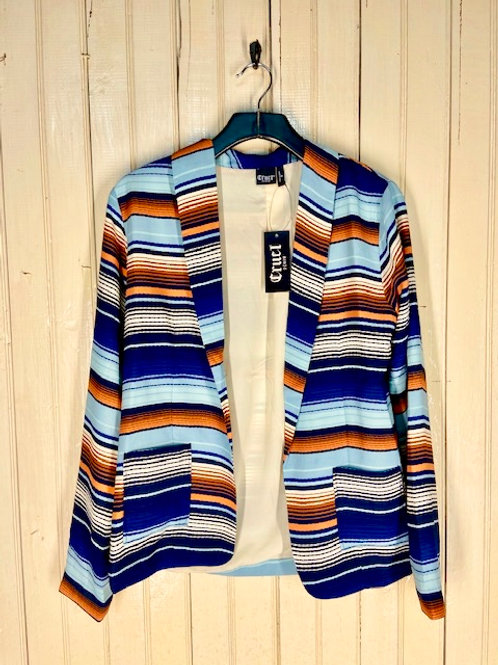 BLUE AND ORANGE STRIPE BLAZER