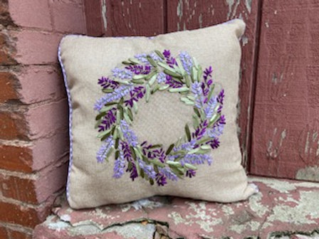 Purple Ribbon Wreath Pillow