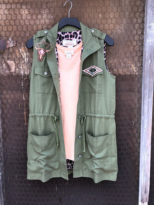 Olive Green Aztec Canvas Vest
