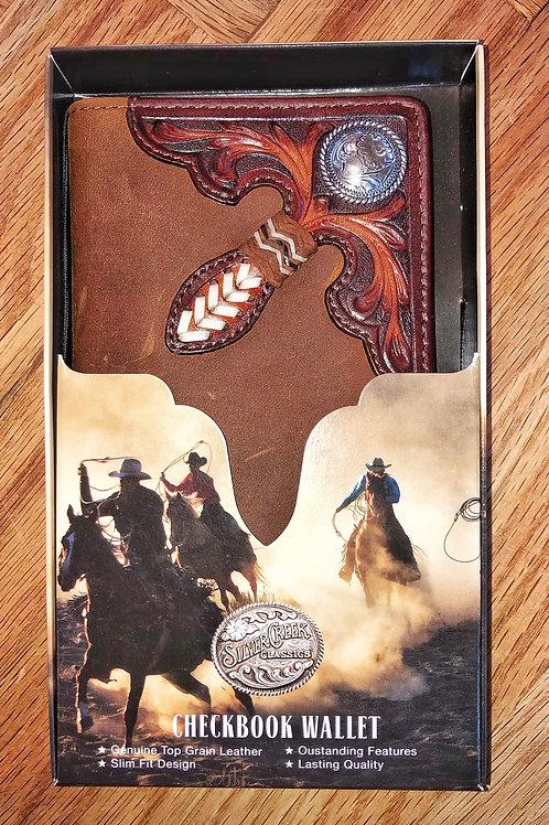 Dark Brown Roper Wallet With Corner Embellishment