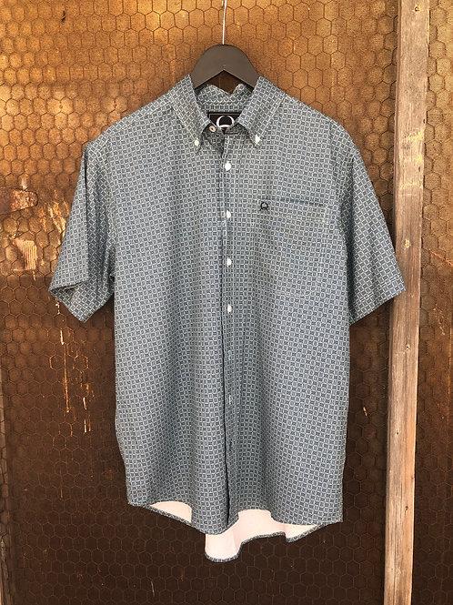 Olive Green & Navy Pattern Cinch Shirt