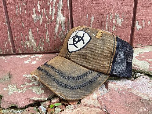 Black/Brown Oilskin Ariat Cap