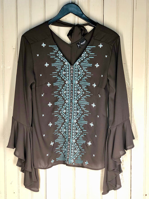 BROWN & TEAL AZTEC BELL SLEEVE TOP