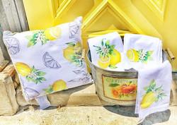 Lemon Pillow & Tea Towel