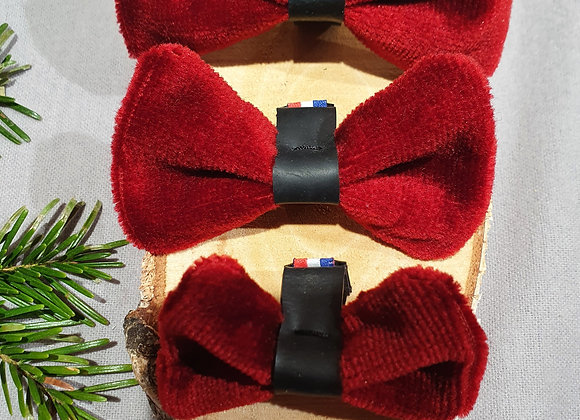 Noeud Papillon Canin velours rouge