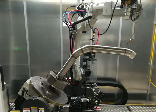 Robotic laser welding of tubes on Panasonic Lapriss Direct diod laser.