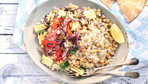 Chickpea and Grilled Vegetable Couscous Salad with Tahini Dressing