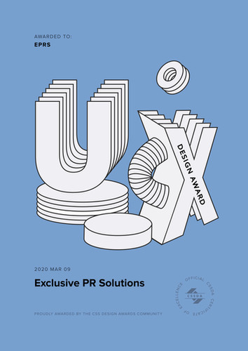 Special UX & UI Award by CSS to Exclusive PR Solutions