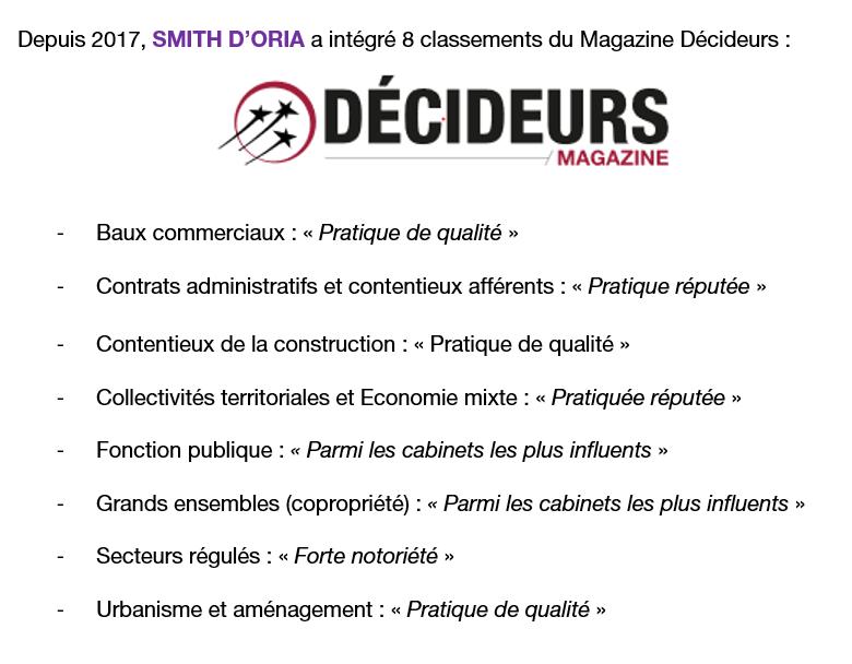 Smith D'Oria figure dans 8 classements de Décideurs Margazine