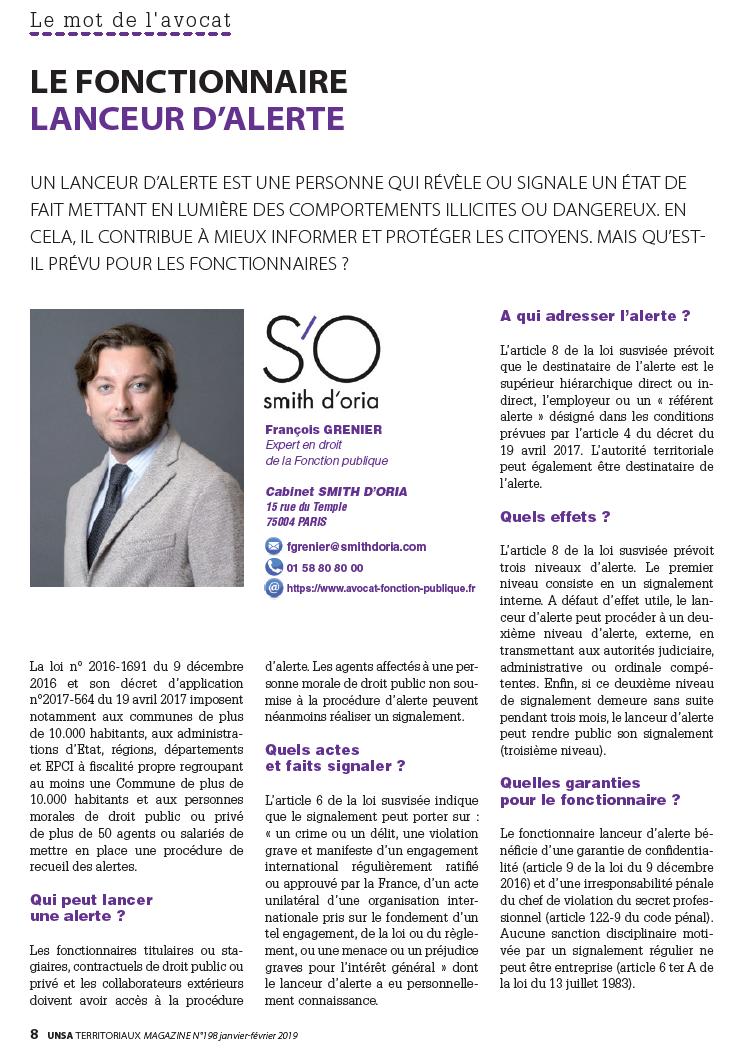 Le fonctionnaire lanceur d'alerte - UNSA Territoriaux Magazine