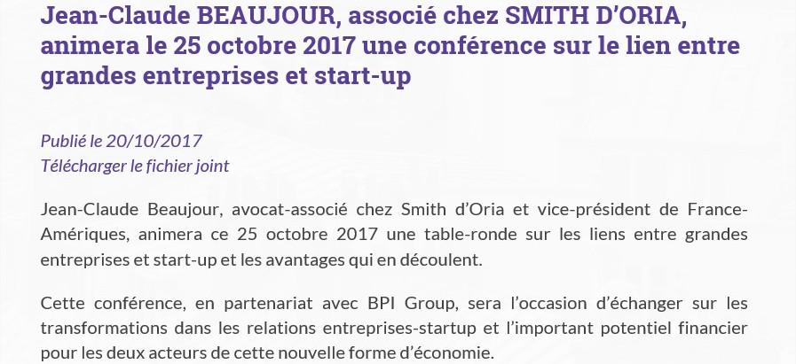 Jean-Claude BEAUJOUR, associé chez SMITH D'ORIA, animera le 25 octobre 2017 une conférence sur le li
