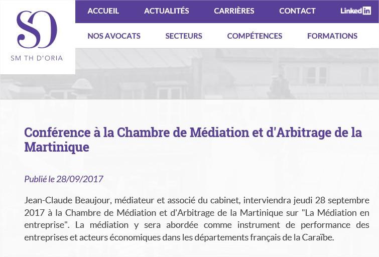 Conférence à la Chambre de Médiation et d'Arbitrage de la Martinique