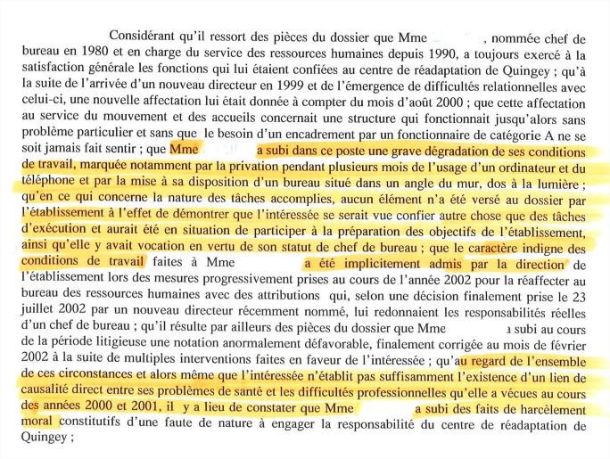 Harcèlement moral caractérisé en cas de déclassement et de grave dégradation des conditions de travail - Tribunal administratif de Besançon, 11 décembre 2003, n°02539