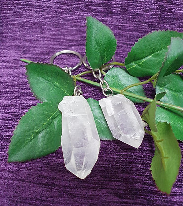 Clear Quartz Crystal Point Keyring