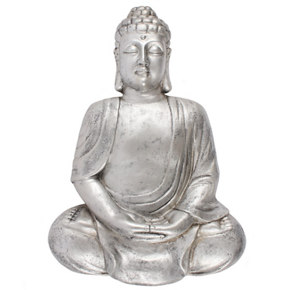 Silver Matte Meditating Buddha Wall Plaque