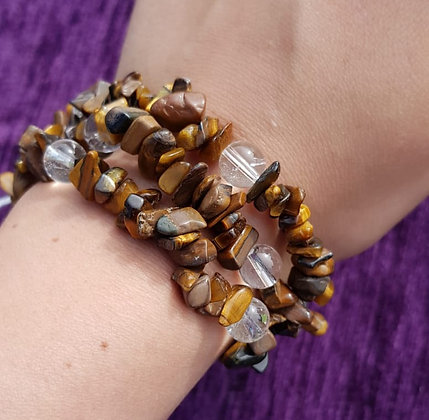 Tigers Eye & Clear Quartz Bracelet