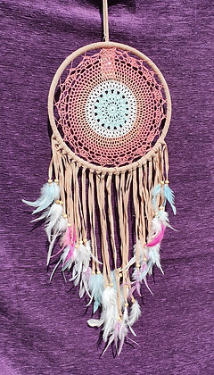 Pink & Tan Crochet Dreamcatcher