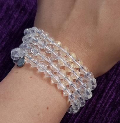 Clear Quartz Tag Charm Bracelet