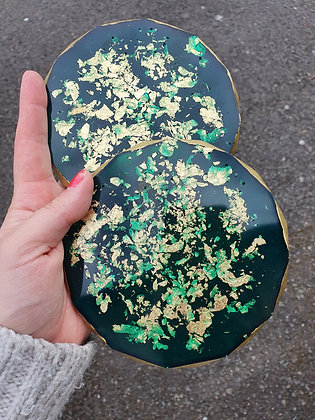 Ivy Green & Gold Resin Coasters - Set of 2