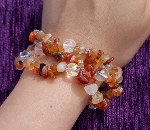 Carnelian & Clear Quartz Bracelet
