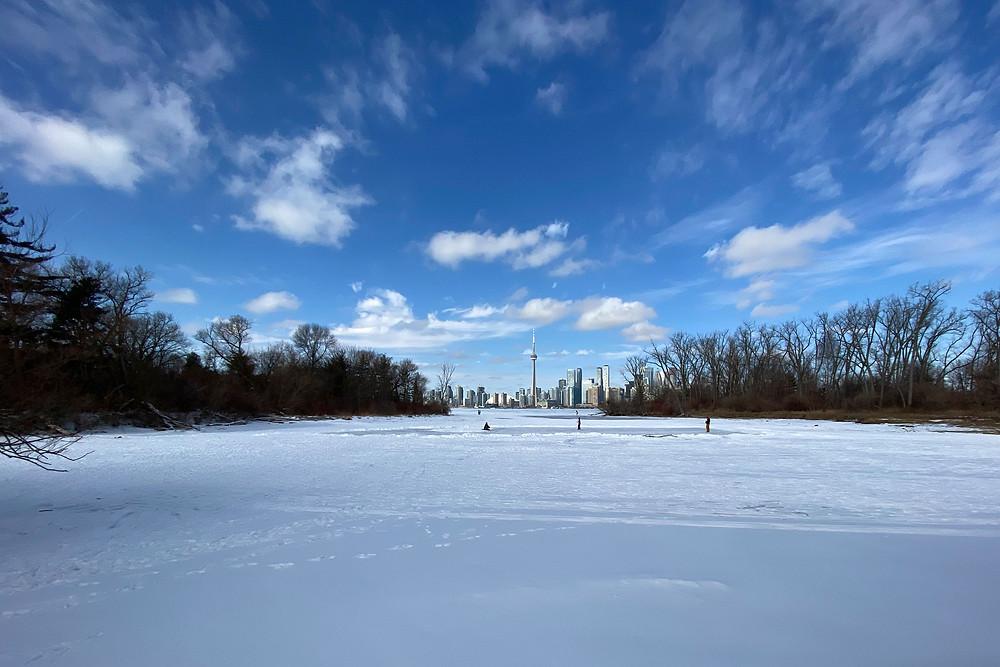 Toronto Island winter view of the city