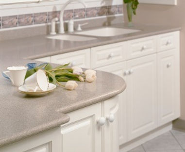 Solid surface Corian kitchen and bathroom countertops