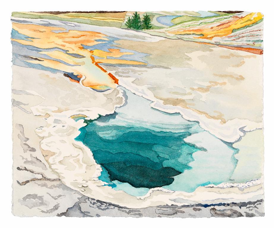"Cistern (Yellowstone NP), watercolor, 6"" x 6 1/4"""