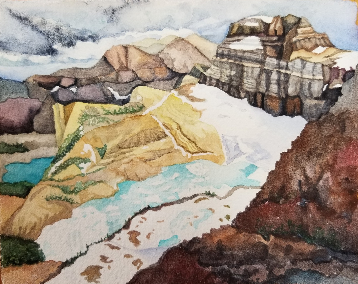 Garden Wall Trail, (Glacier NP), watercolor