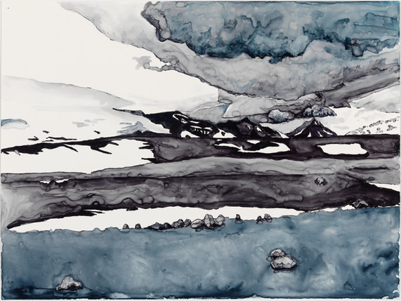 "Sky Drama, watercolor on yupo, 11"" x 13"""