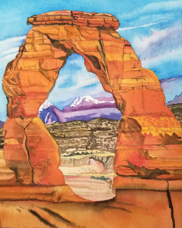 Delicate Arch Glow, (Arches NP), watercolor
