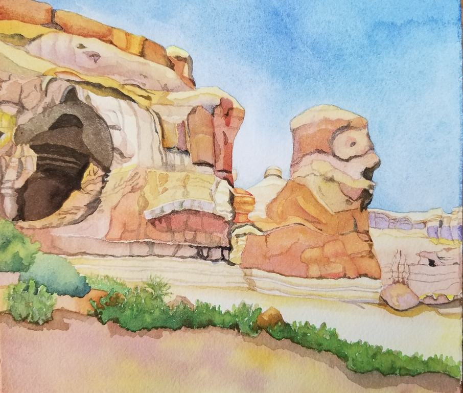 Man in the Rock, (Arches NP) watercolor